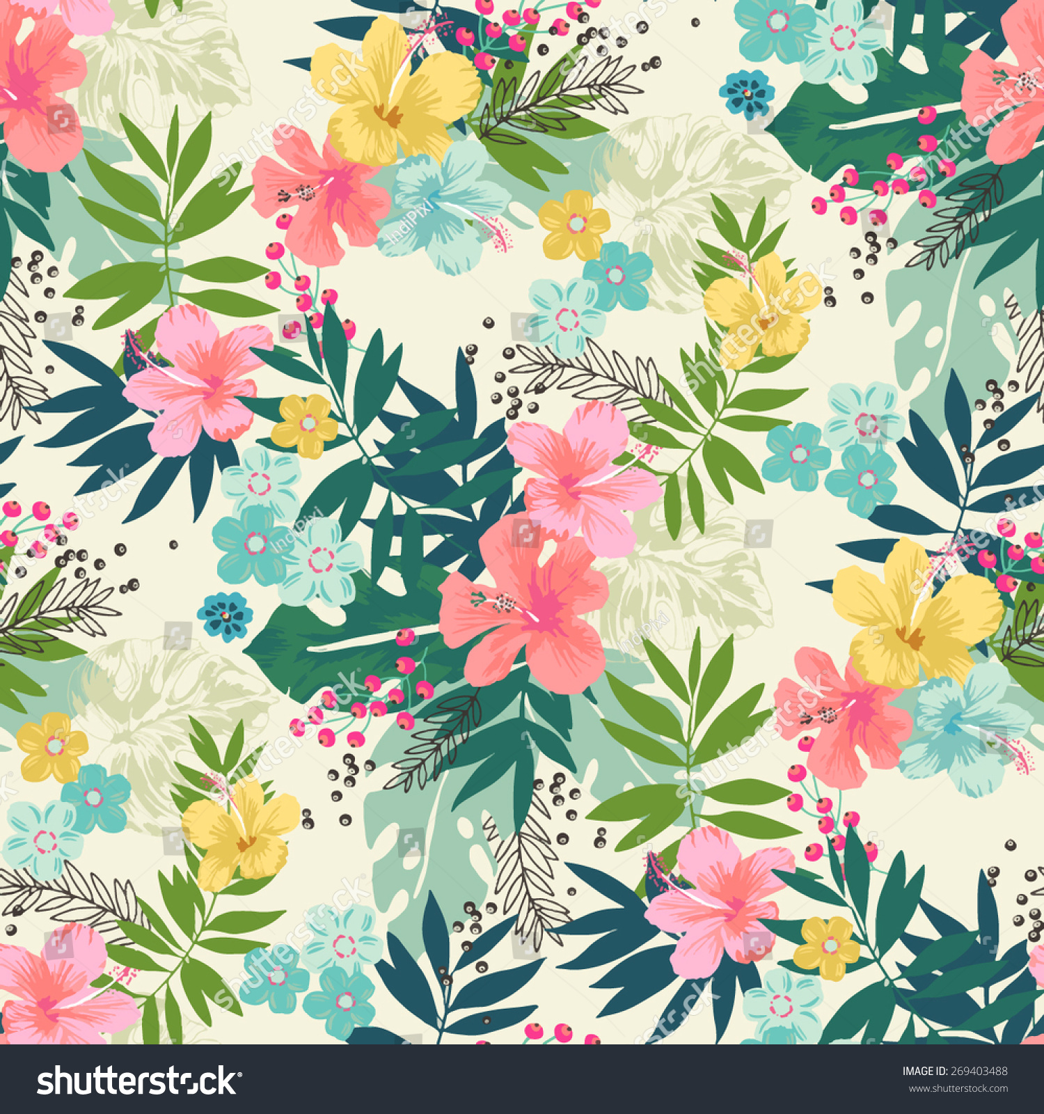 Hand Draw Tropical Flower,Blossom Cluster Seamless Pattern ...