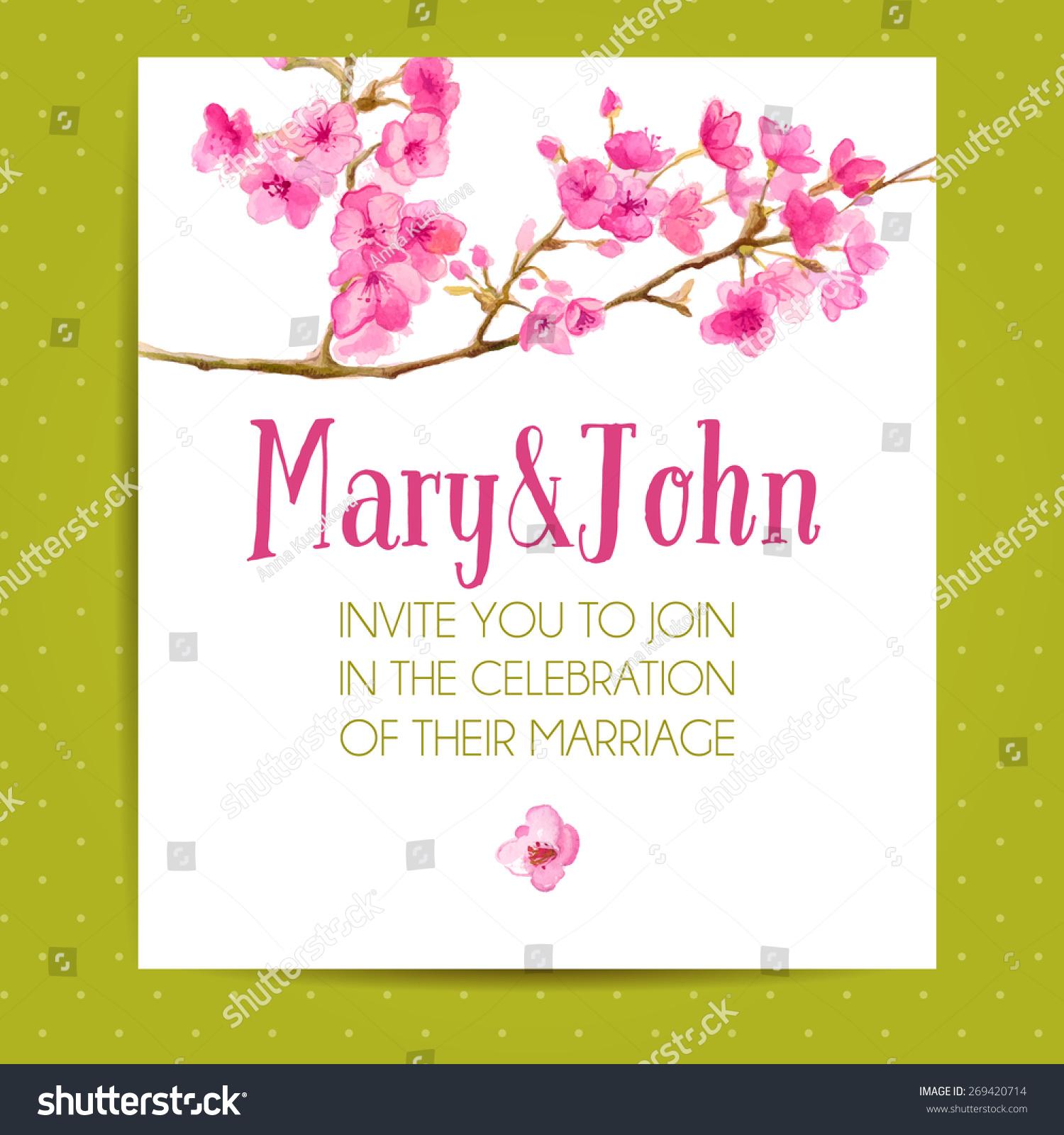 Elegant Cherry Blossom Wedding Invites With Response Card EWI064 ...