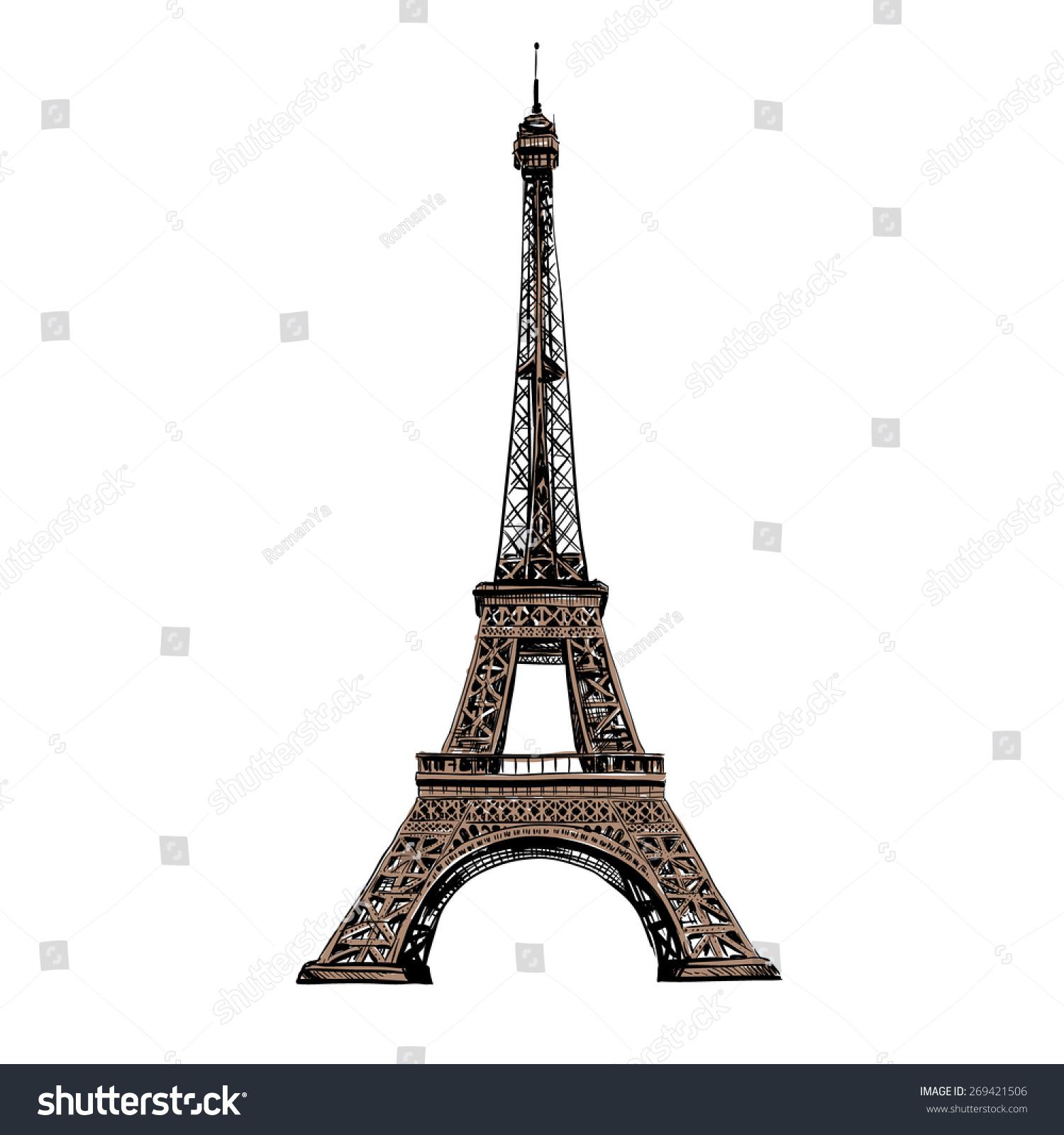 Paris Illustration: Eiffel Tower Paris France Vector Illustration Stock Vector