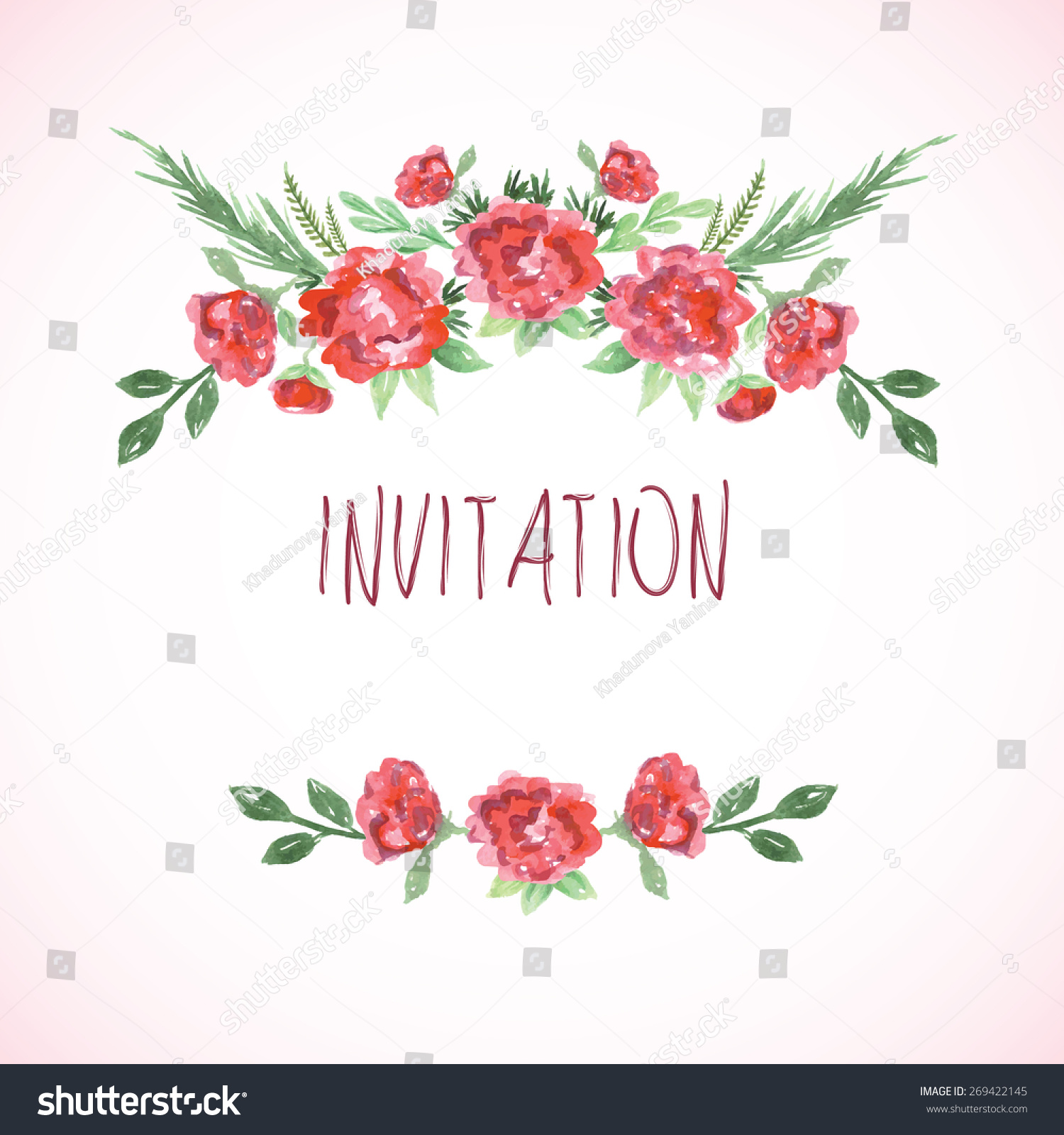 Watercolor pink, red and green template for wedding invitation, save ...