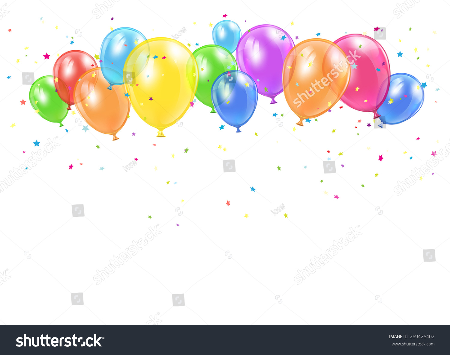 Colorful inflatable balloons background abstract festive backdrop - Holiday Balloons Confetti Flying On White Stock