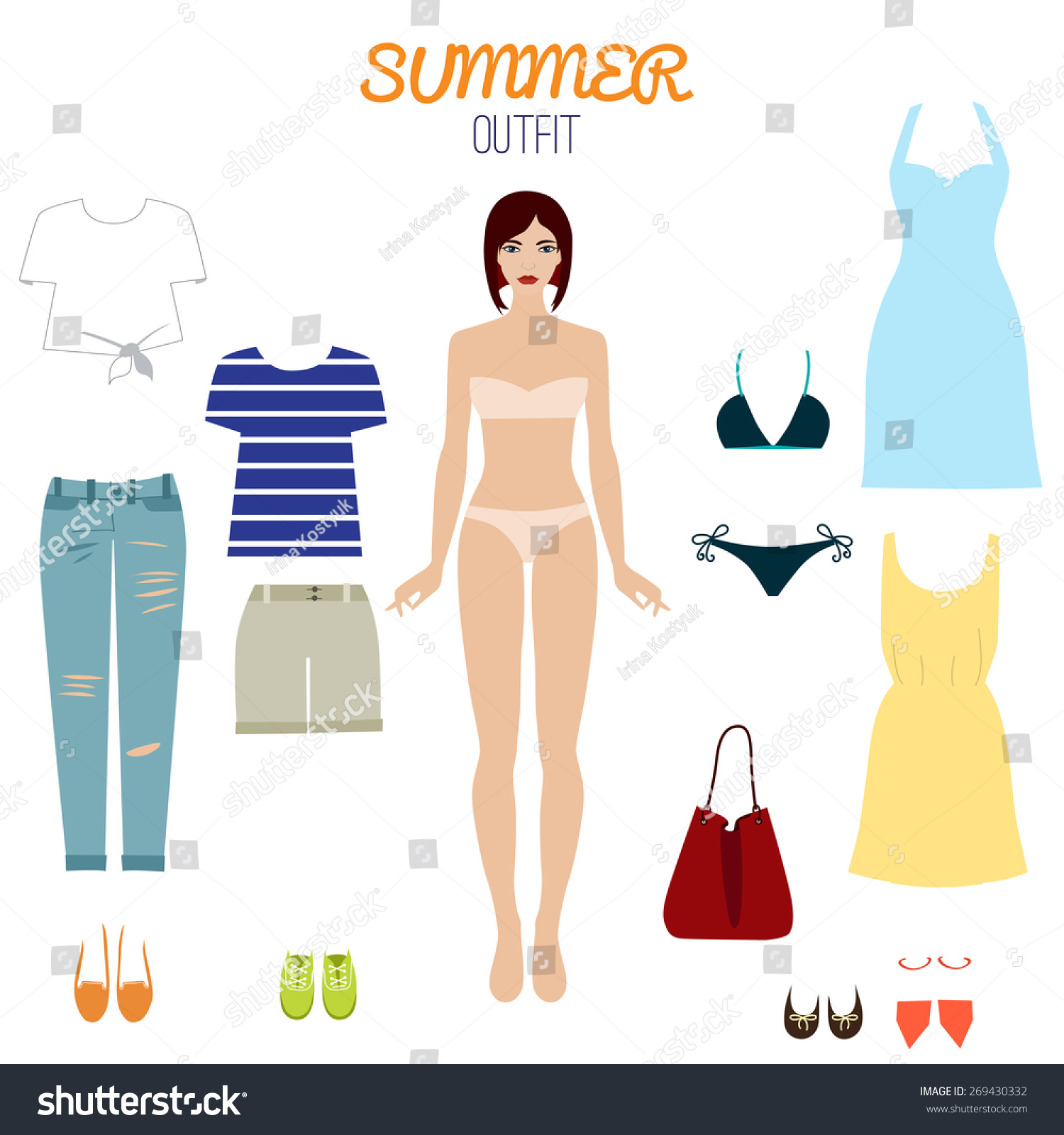 Paper doll set summer outfit fashion stock vector for Paper doll template woman