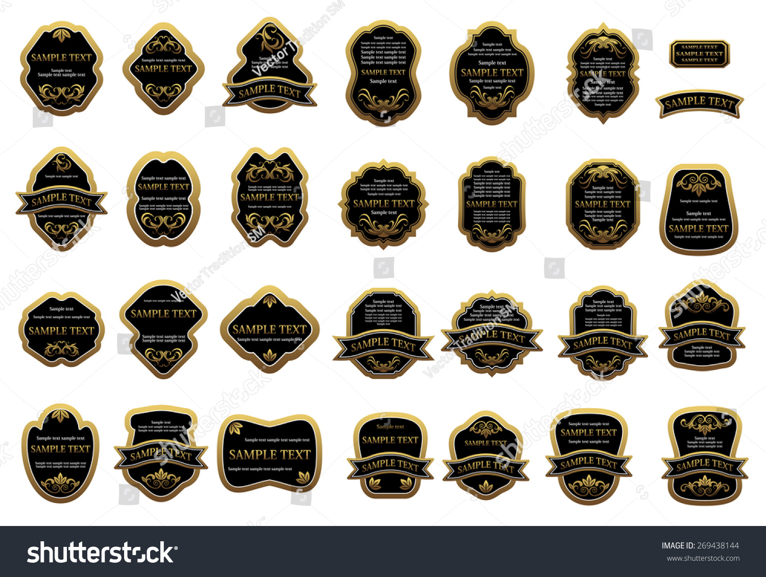vintage black with golden frame label templates decorated floral ornament and ribbon banners isolated on white