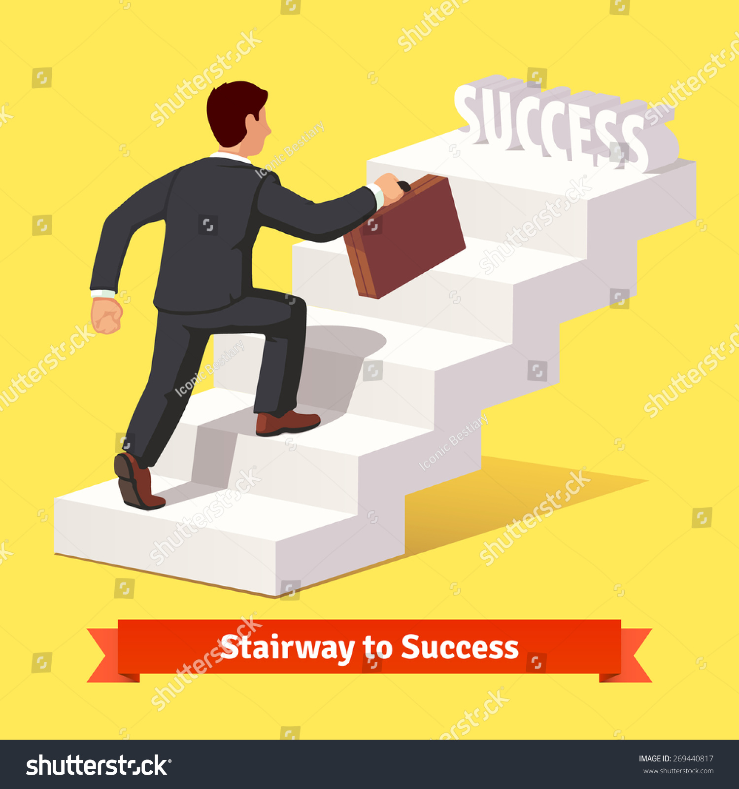 Businessman Black Suit Suitcase Climbing Stairs Stock Vector ... for Climbing Stairs To Success  56mzq