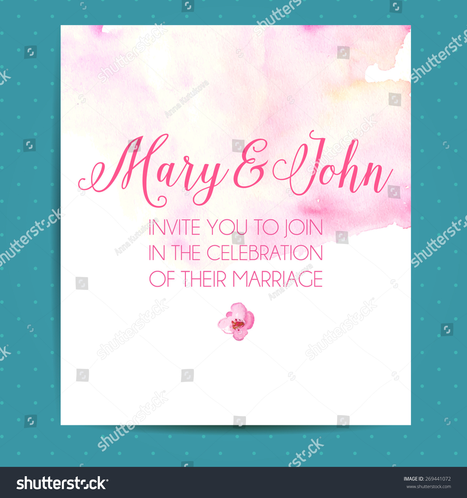 wedding invitation layout pink watercolor paint stock vector
