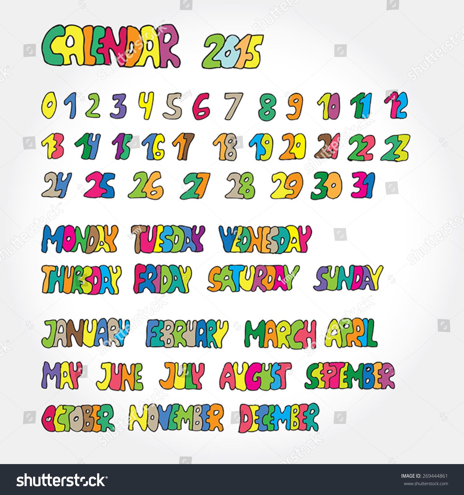 Calendar Typography Vector : Calendar handwritten typography stock vector