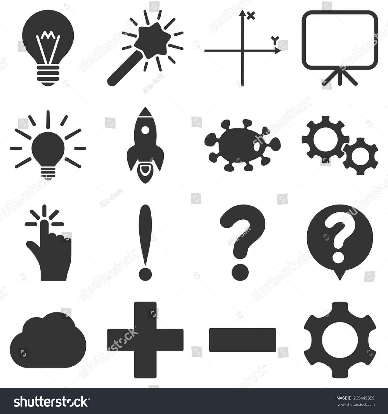 Basic Science Knowledge Icons These Plain Stock Vector Royalty Free