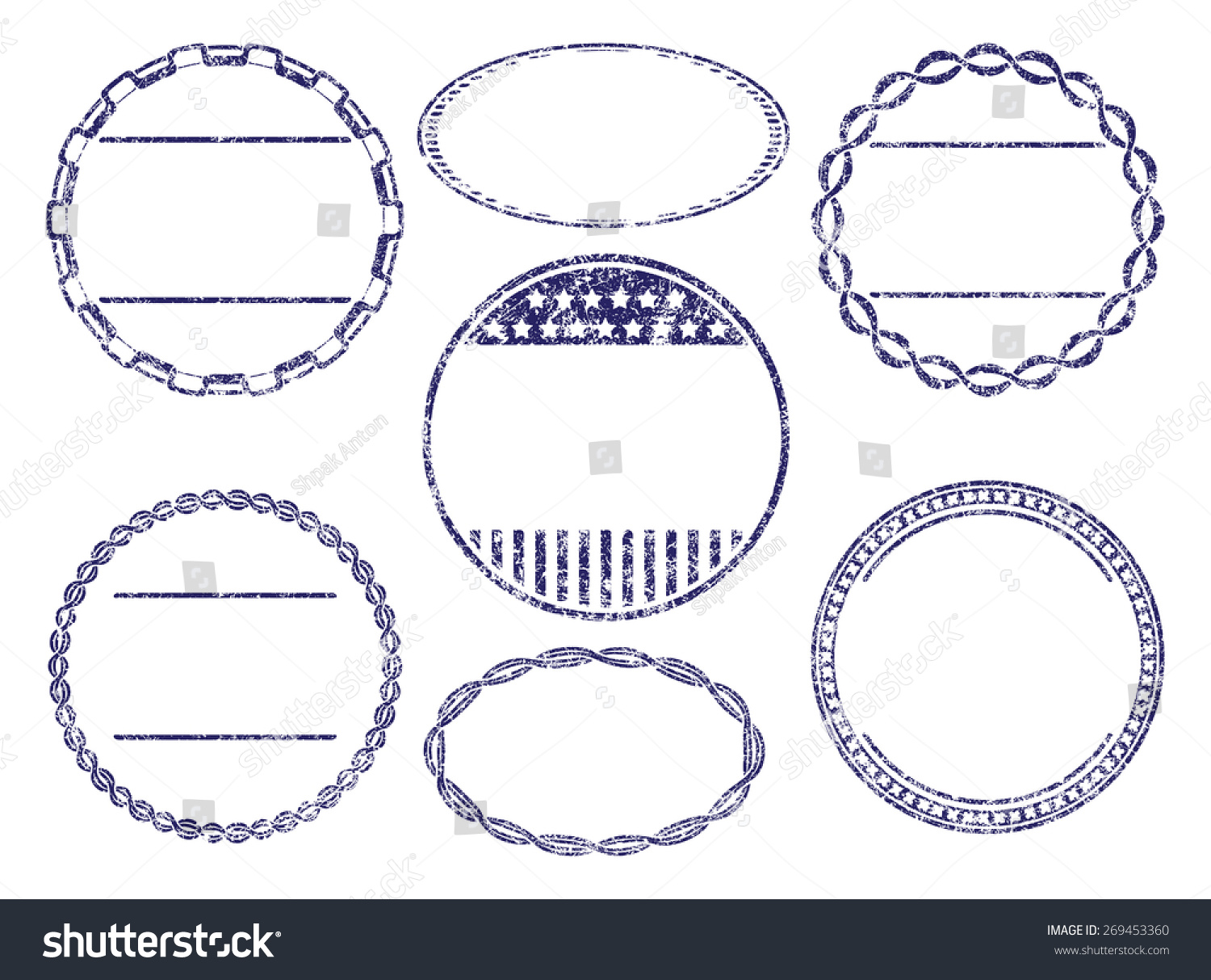 set seven grunge rubber stamps templates stock vector royalty free