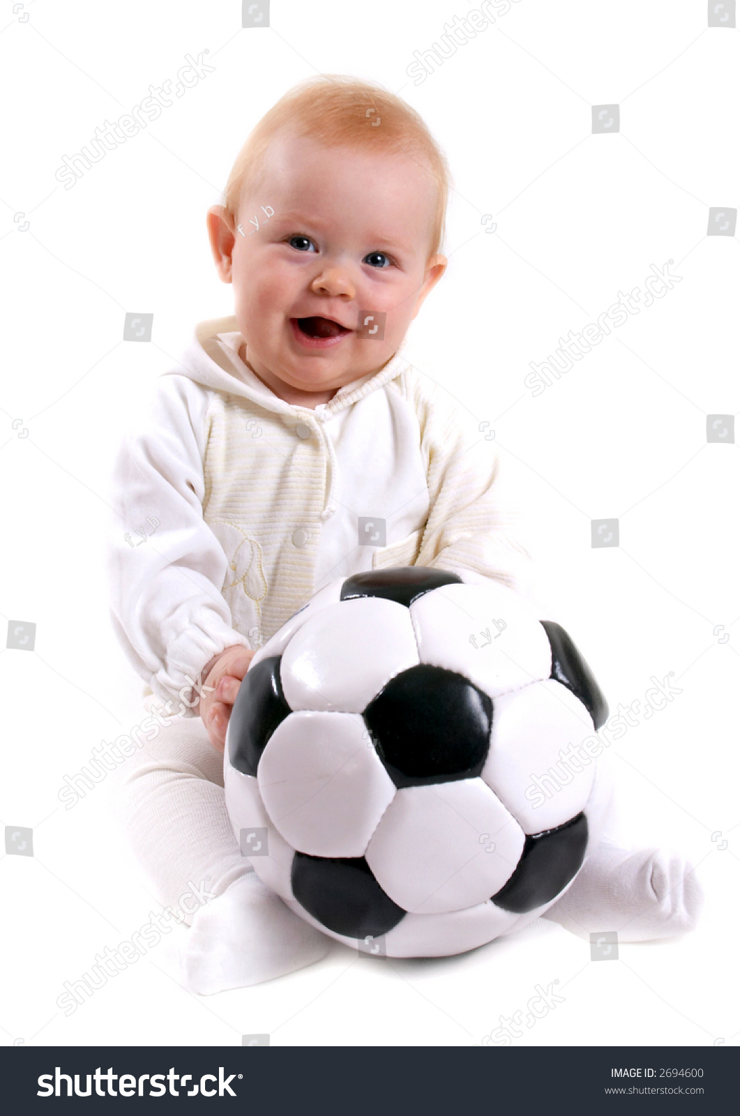 Cute Stock Photography: Cute Little Baby Soccer Ball Stock Photo 2694600