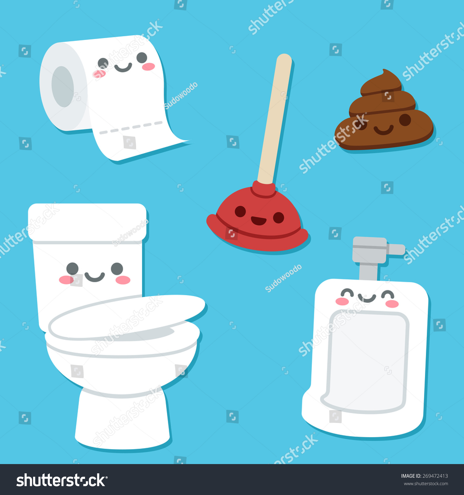 bathroom related objects cute cartoon faces stock vector 269472413 shutterstock. Black Bedroom Furniture Sets. Home Design Ideas