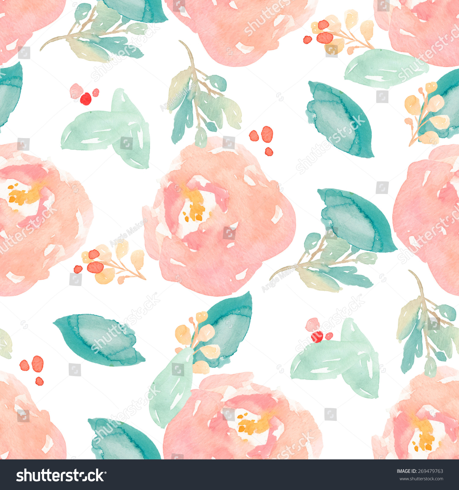 Seamless Cute Watercolor Floral Background Painted Stock