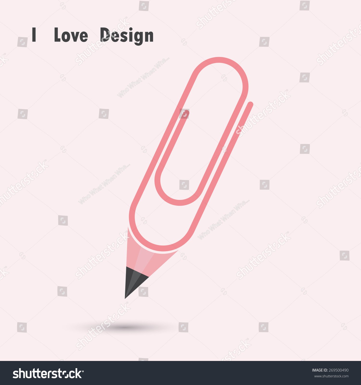 Pencil Paper Clip Shape Love Design Stock Vector 269500490 ...