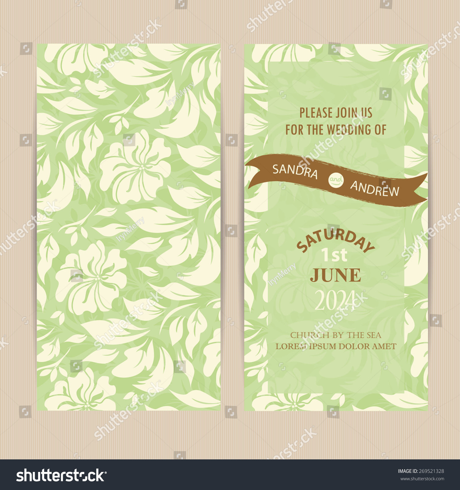 Wedding Invitation Card Stock Vector 269521328 - Shutterstock