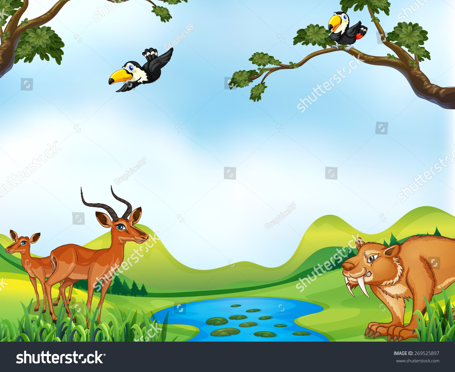 Many animals around pond stock vector 269525897 shutterstock for Pond animals