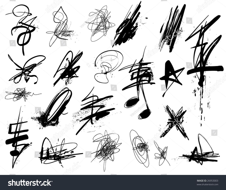 Various Textured Vector Graffiti Elements Lagervektor