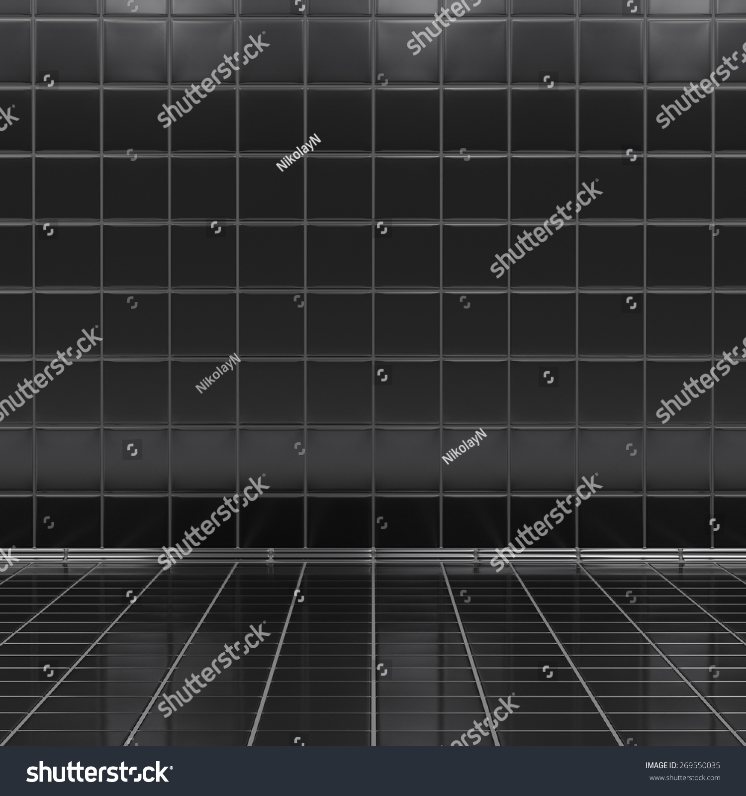 Black tiles room interior wall and floor grid stock photo for Interior design room grid