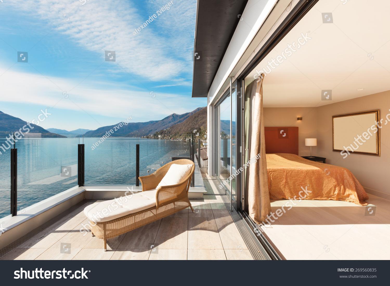 Interior beautiful modern apartment bedroom view from balcony stockfoto 269560835 shutterstock - Interior balcony in bedroom design ...