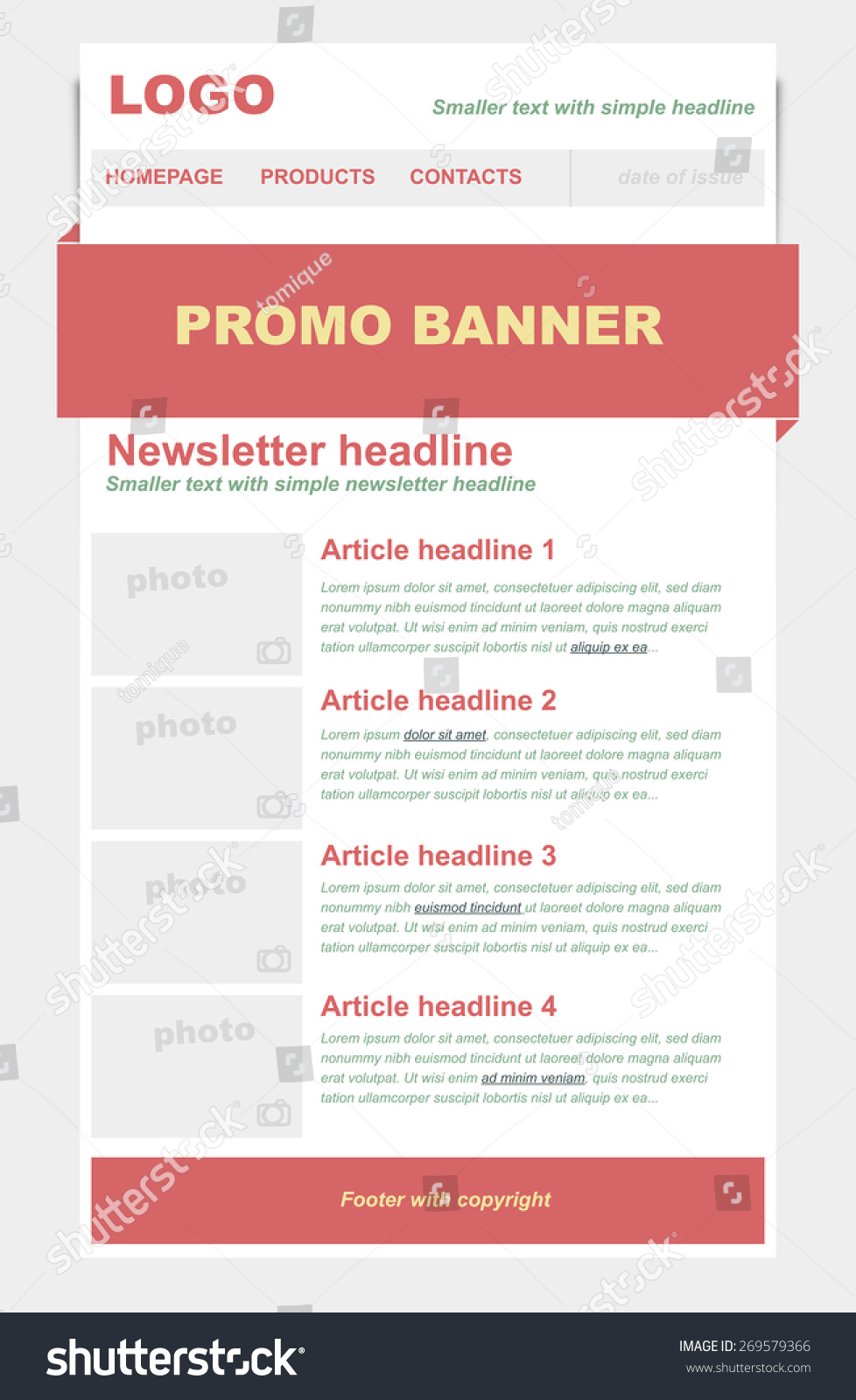 stock-vector-newsletter-template-with-red-color-269579366 Vector Newsletter Template on logo vector, newsletter button, newsletter icon vector, brochure vector,