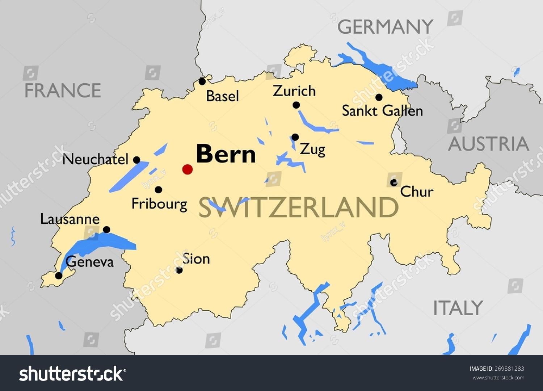 Switzerland Map Stock Vector Shutterstock - Chur map