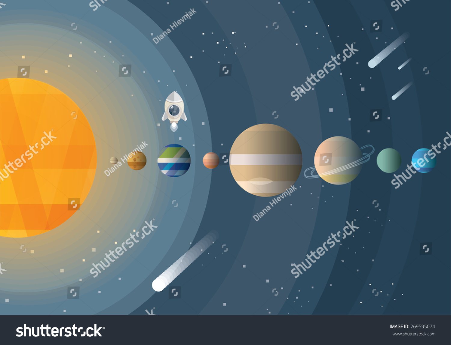 Abstract universe wallpaper flat design style stock vector for Space material design