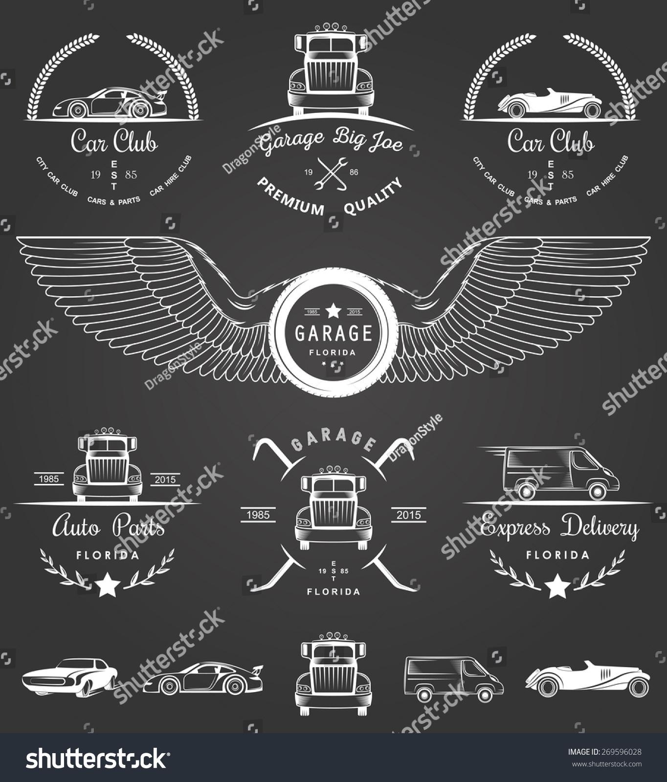 Design car club logo - Set Of Vintage Car Club Drift Club Auto Parts And Garage Labels Badges