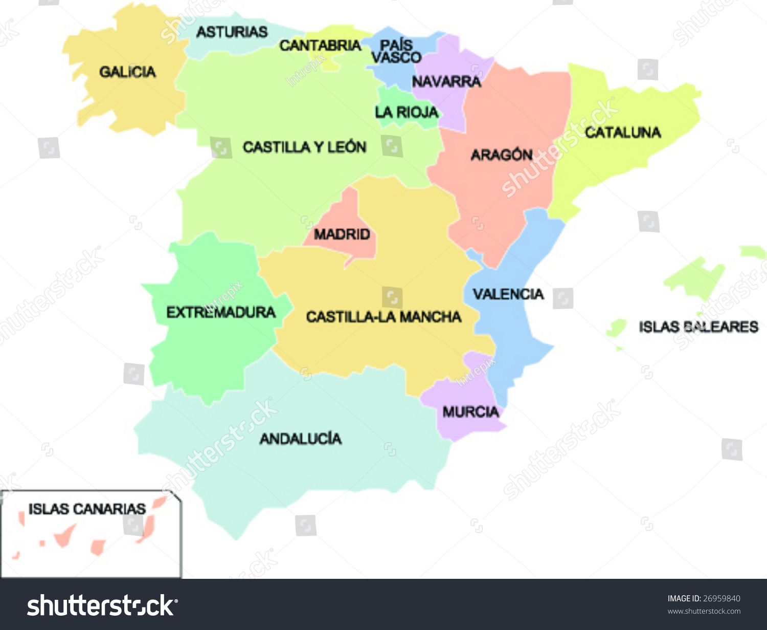 Political Map Spain Showing Different Regions Stock Vector - Spain political map