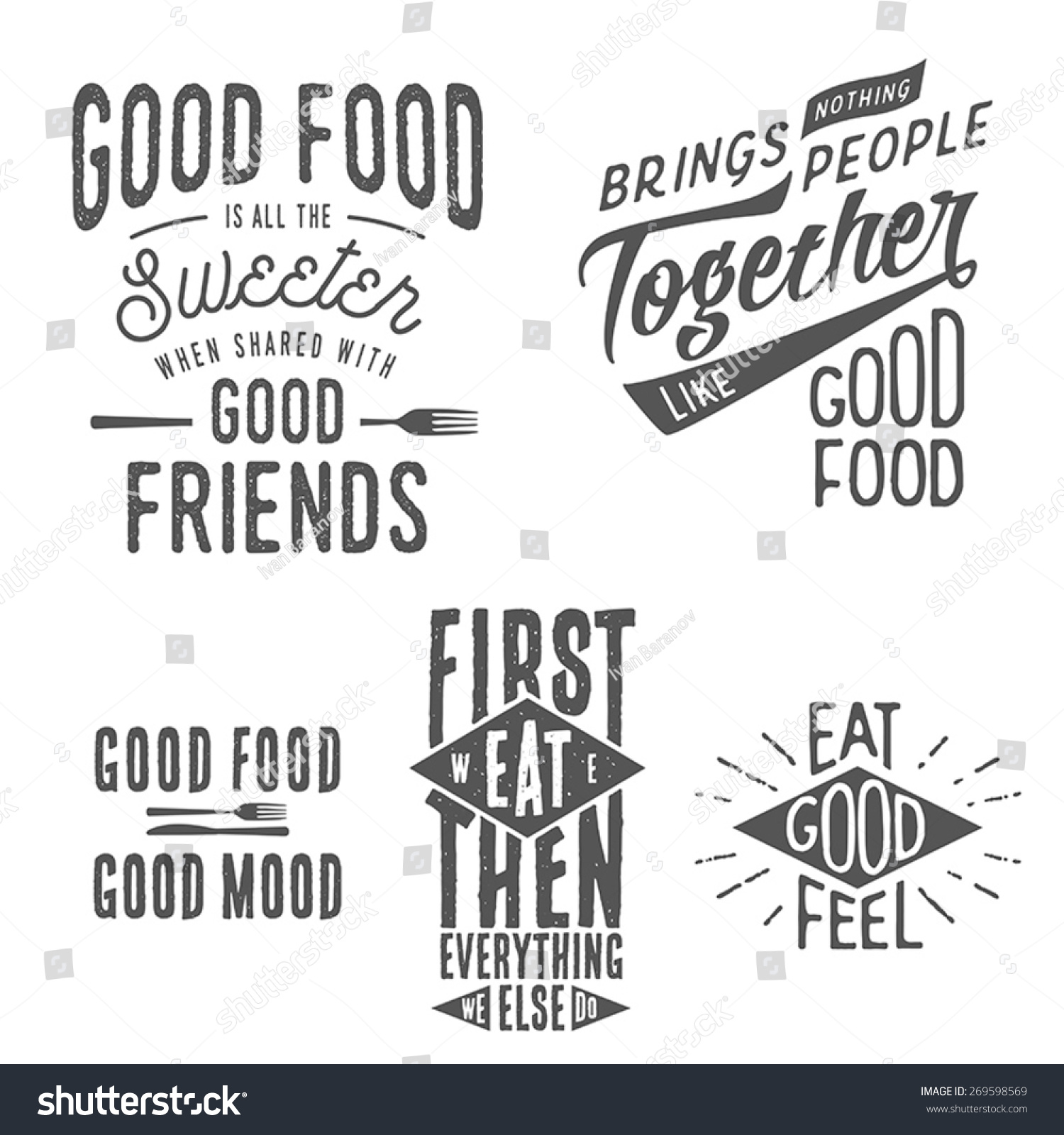 vintage food related typographic quotes stock vector 269598569 shutterstock