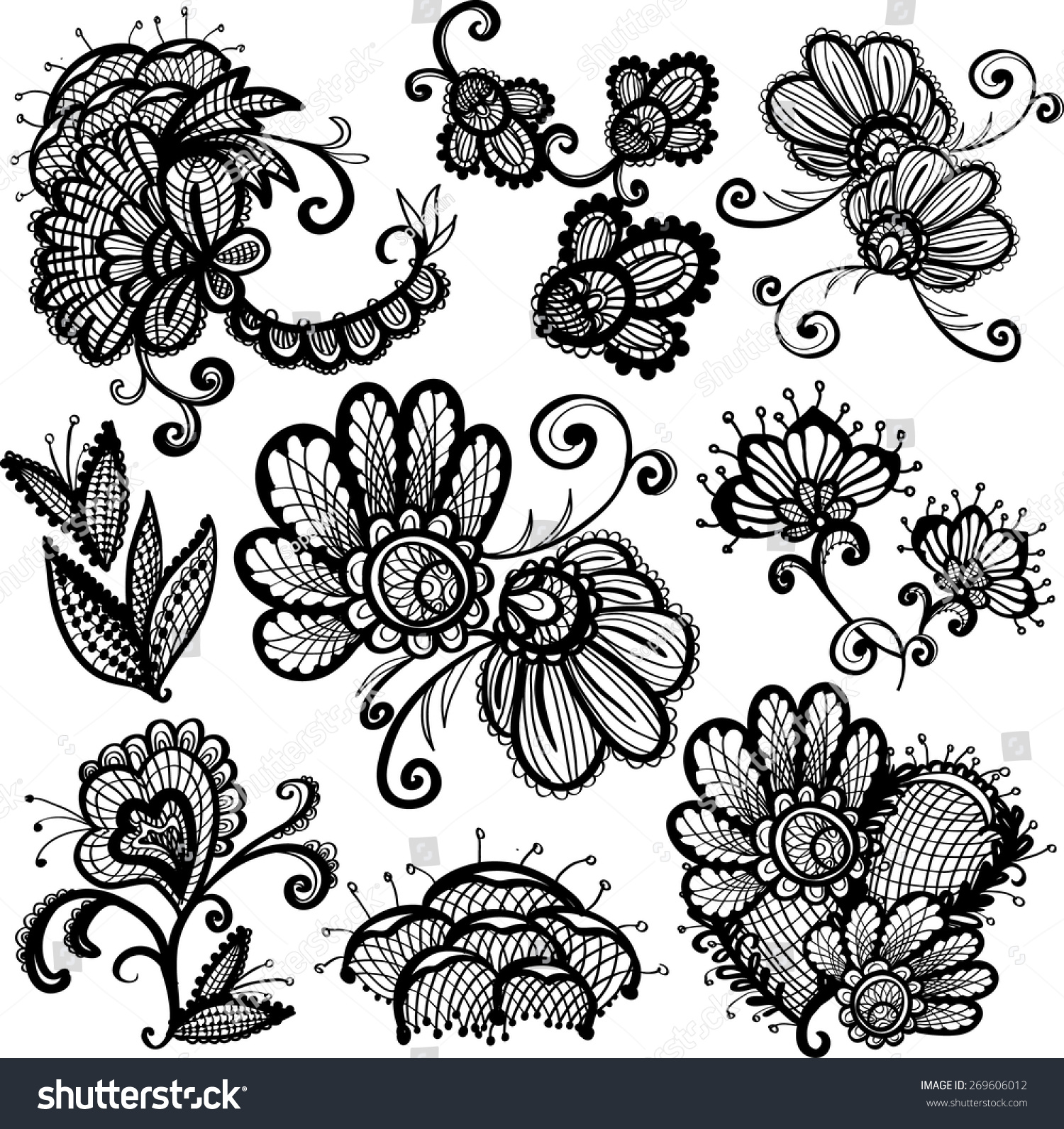 Black Flower Rose From Lace On White Background: Hand Drawn Graphic Vintage Black Line Lace Flower, Peony