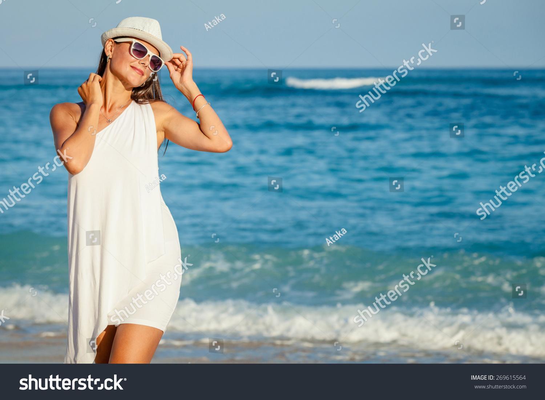 Fashion Lifestyle Beautiful Brunette Girl Sunglasses Stock