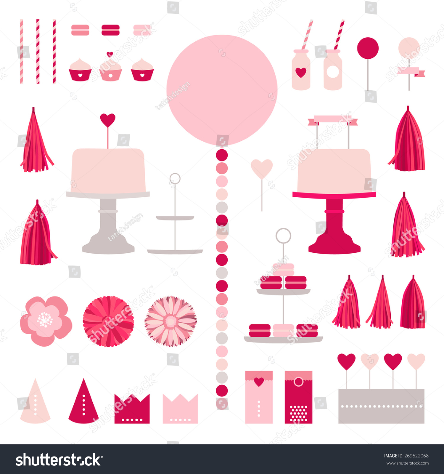 Happy birthday collection cake party elements stock vector happy birthday collection with cake party elements pink princess decoration garland tissue stopboris Image collections