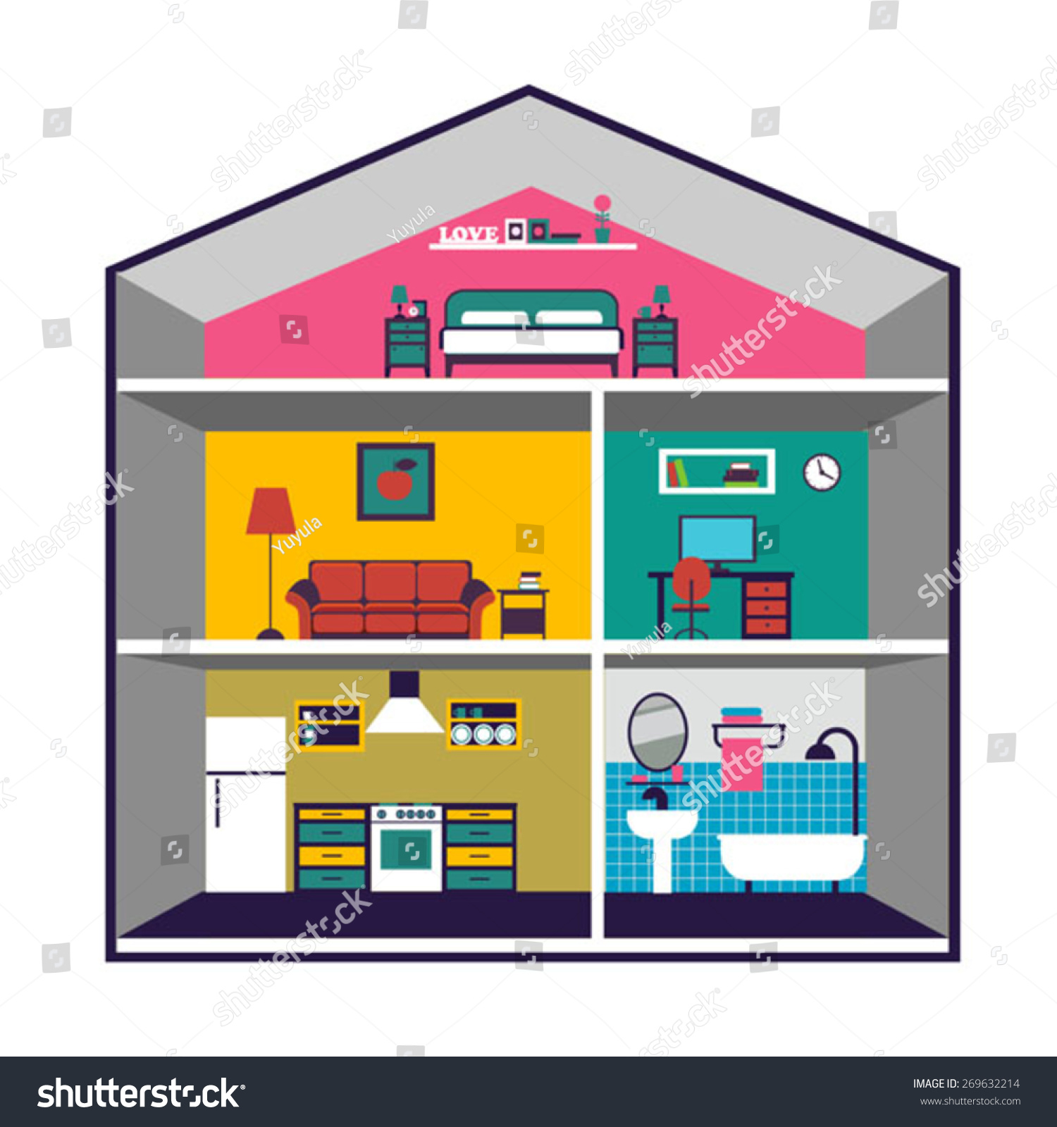Color vector house interior infographic design stock vector 269632214 shutterstock - Home design elements ...
