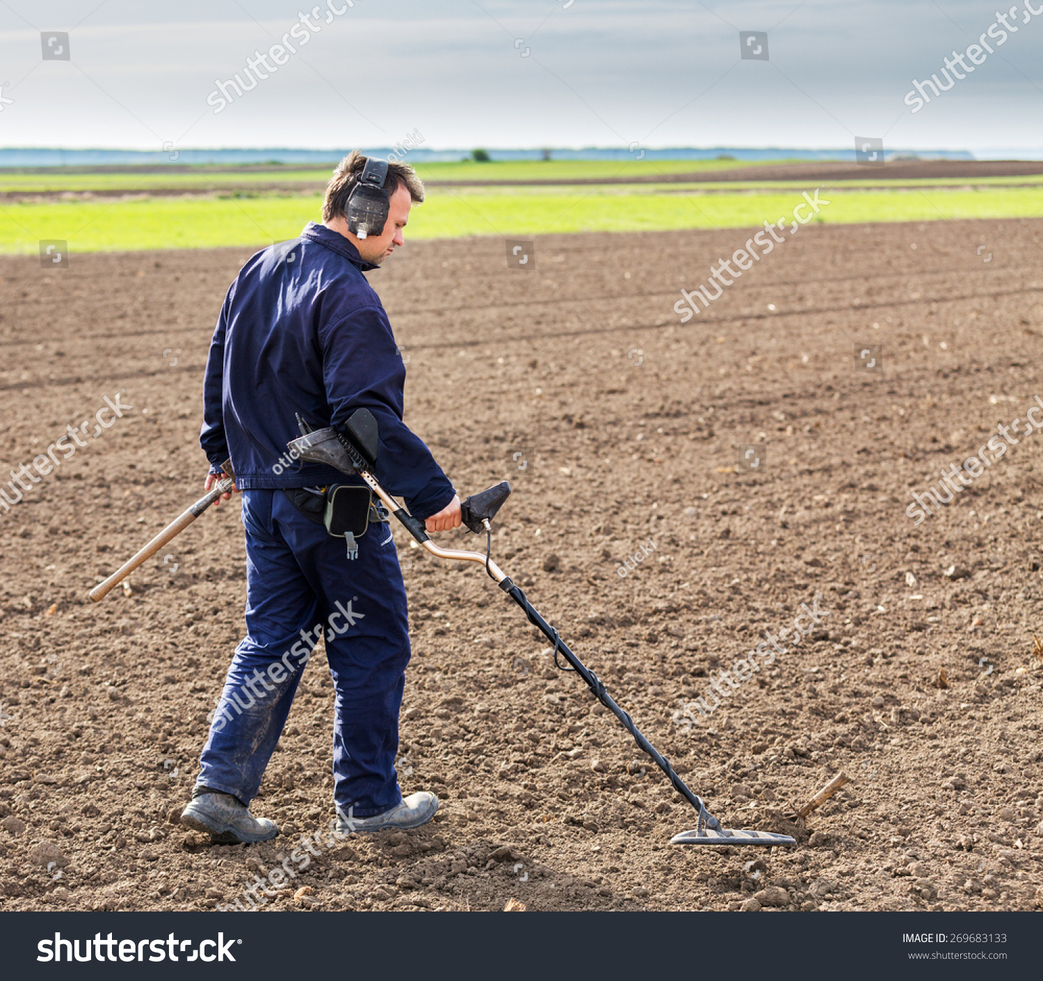 Jew Detector: Man Searching Treasure Metal Detector Stock Photo