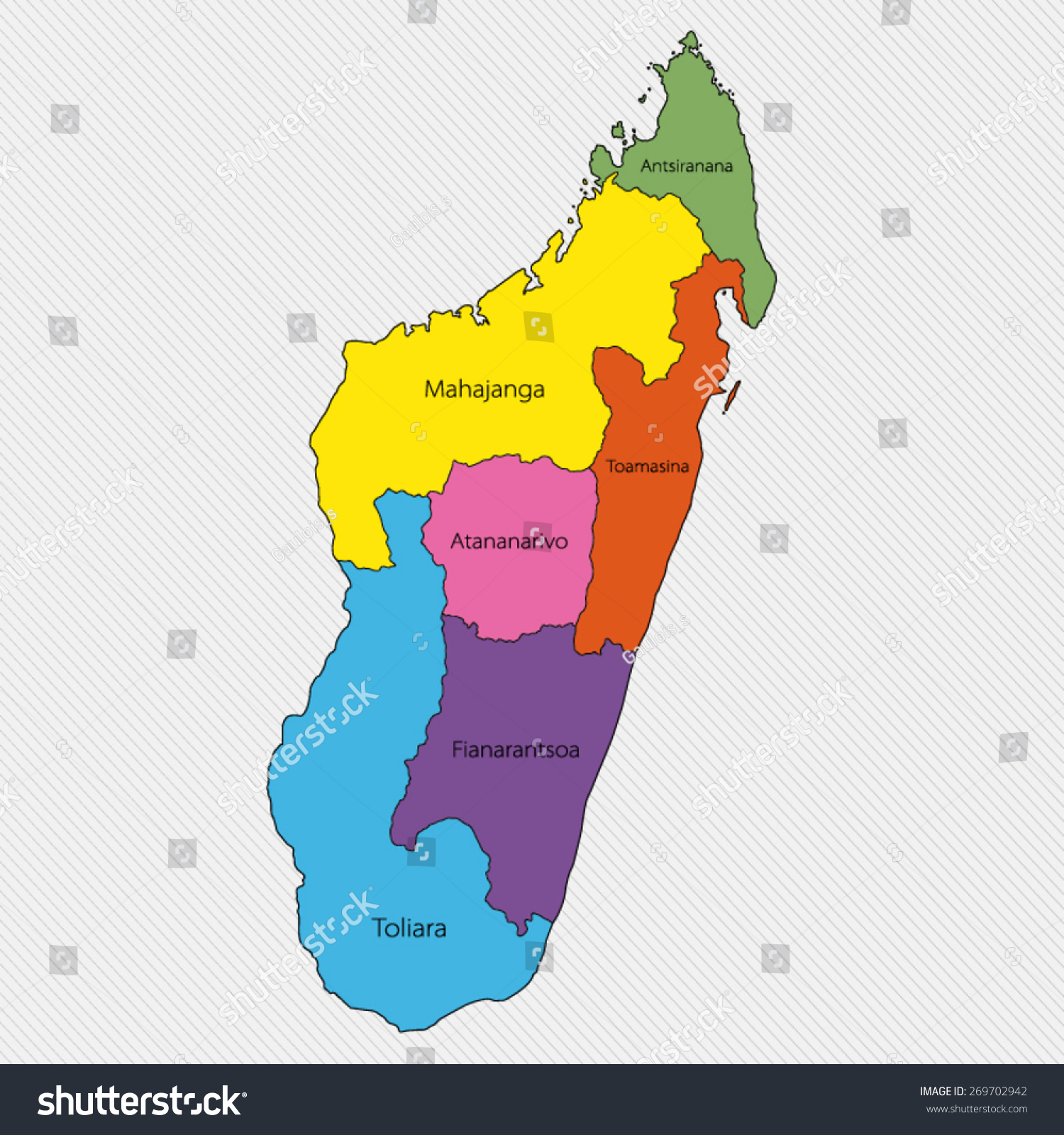 Map Madagascar Administrative Division Stock Vector 269702942