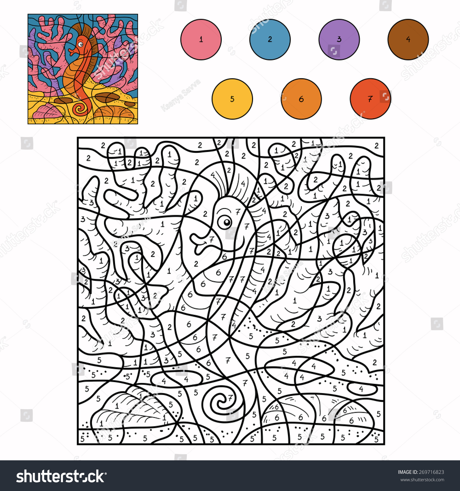 Horse Color By Number on Color By Numbers Math Worksheet Cow Coloring Page For