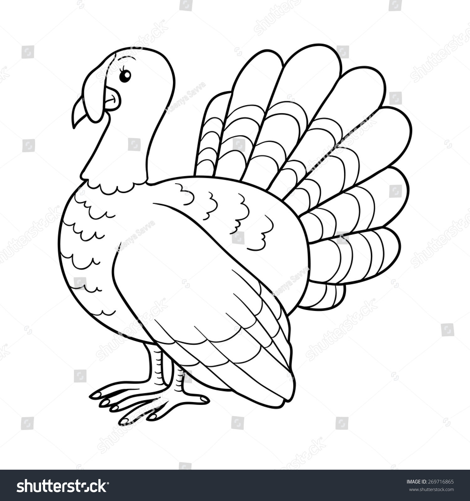 Coloring Book Turkey Stock Vector 269716865 - Shutterstock