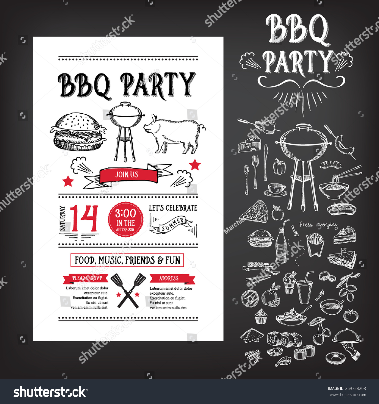 barbecue party invitation bbq template menu stock vector 269728208 shutterstock. Black Bedroom Furniture Sets. Home Design Ideas