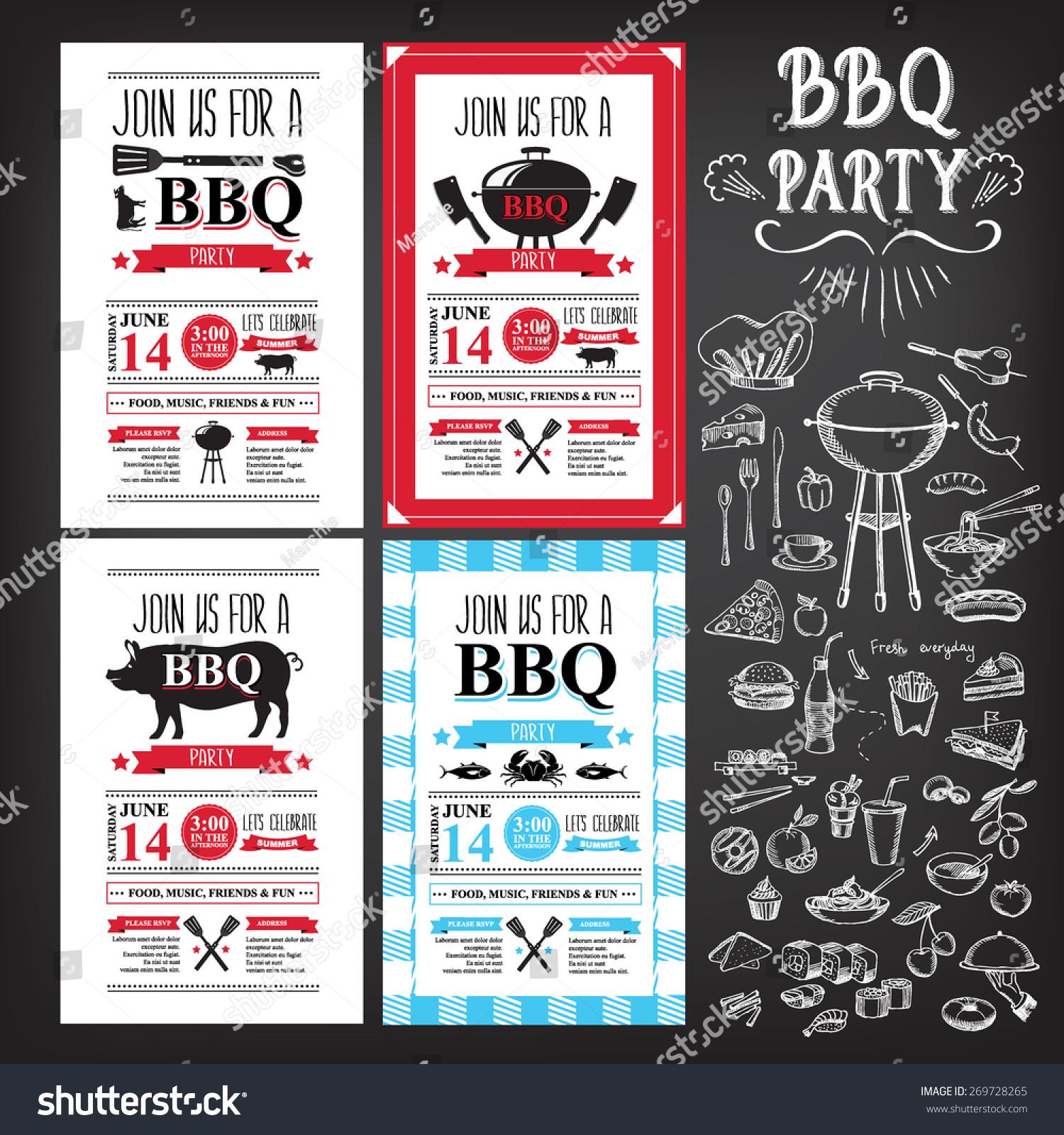 barbecue party invitation bbq template menu のベクター画像素材