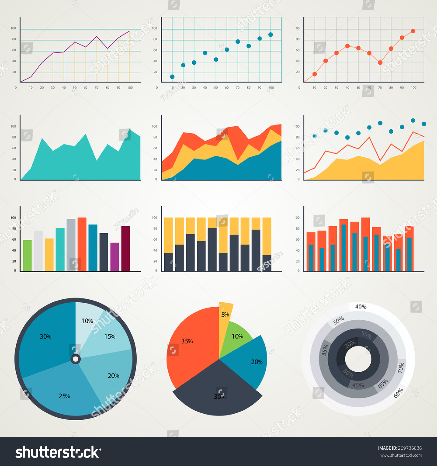 Set Elements Chart Infographics Charts Graphs Stock Vector Royalty Free 269736836