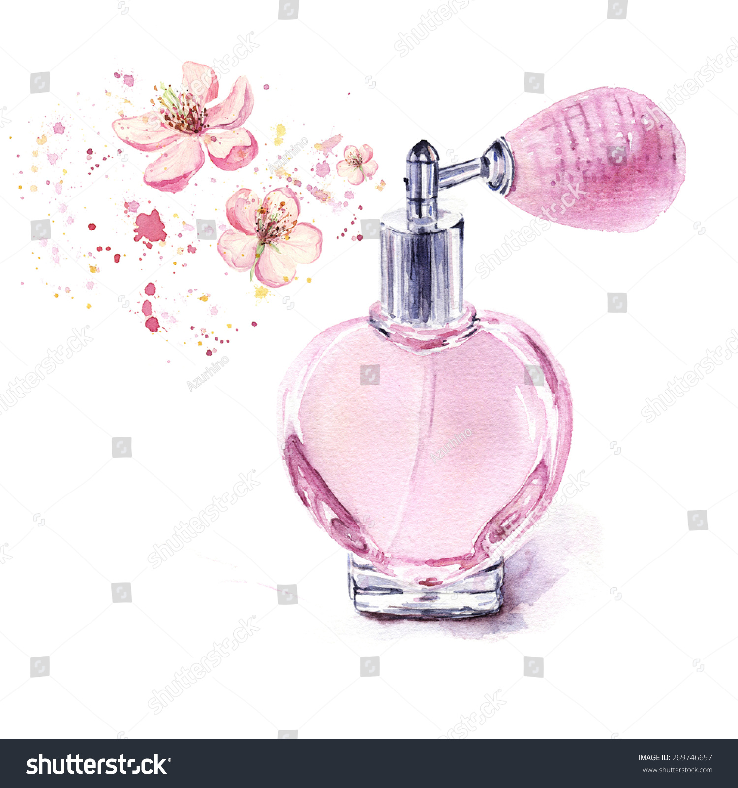 Luxury Style Floral Perfume Logo:  Perfume Bottle Spraying Flowers Isolated On Stock