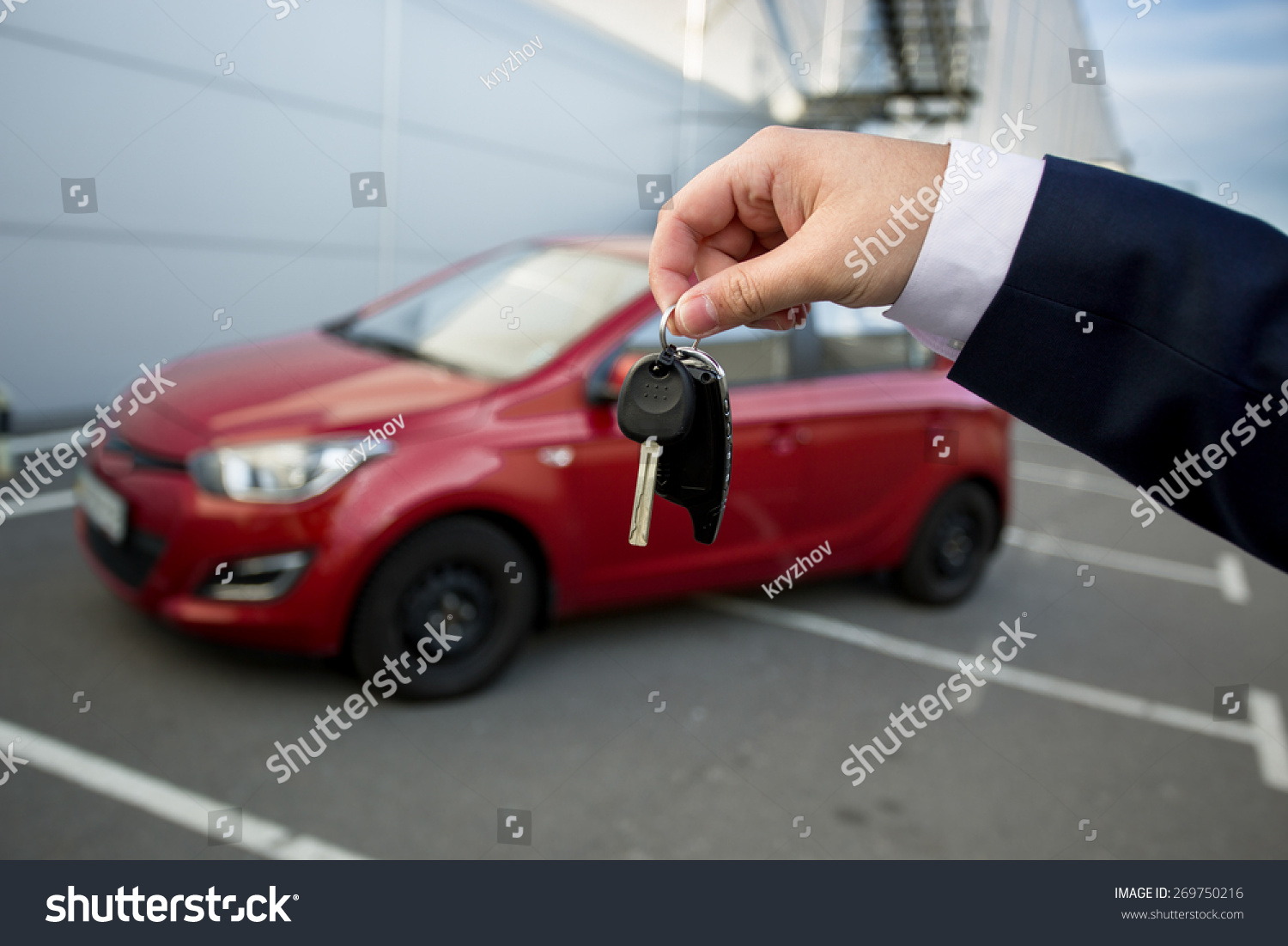 Car Salesman Showing Keys Alarm Remote Stock Photo Edit Now Remot Motor With Of New