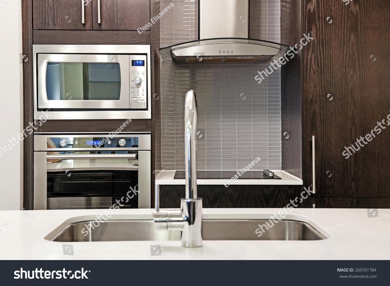 Modern luxury kitchen interior stone countertop stock photo 269761784 shutterstock - Modern luxury kitchen with granite countertop ...