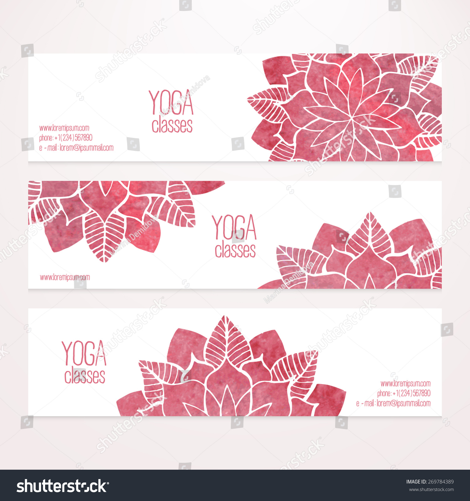 Set horizontal vector banner templates watercolor stock for Abstract salon of the arts