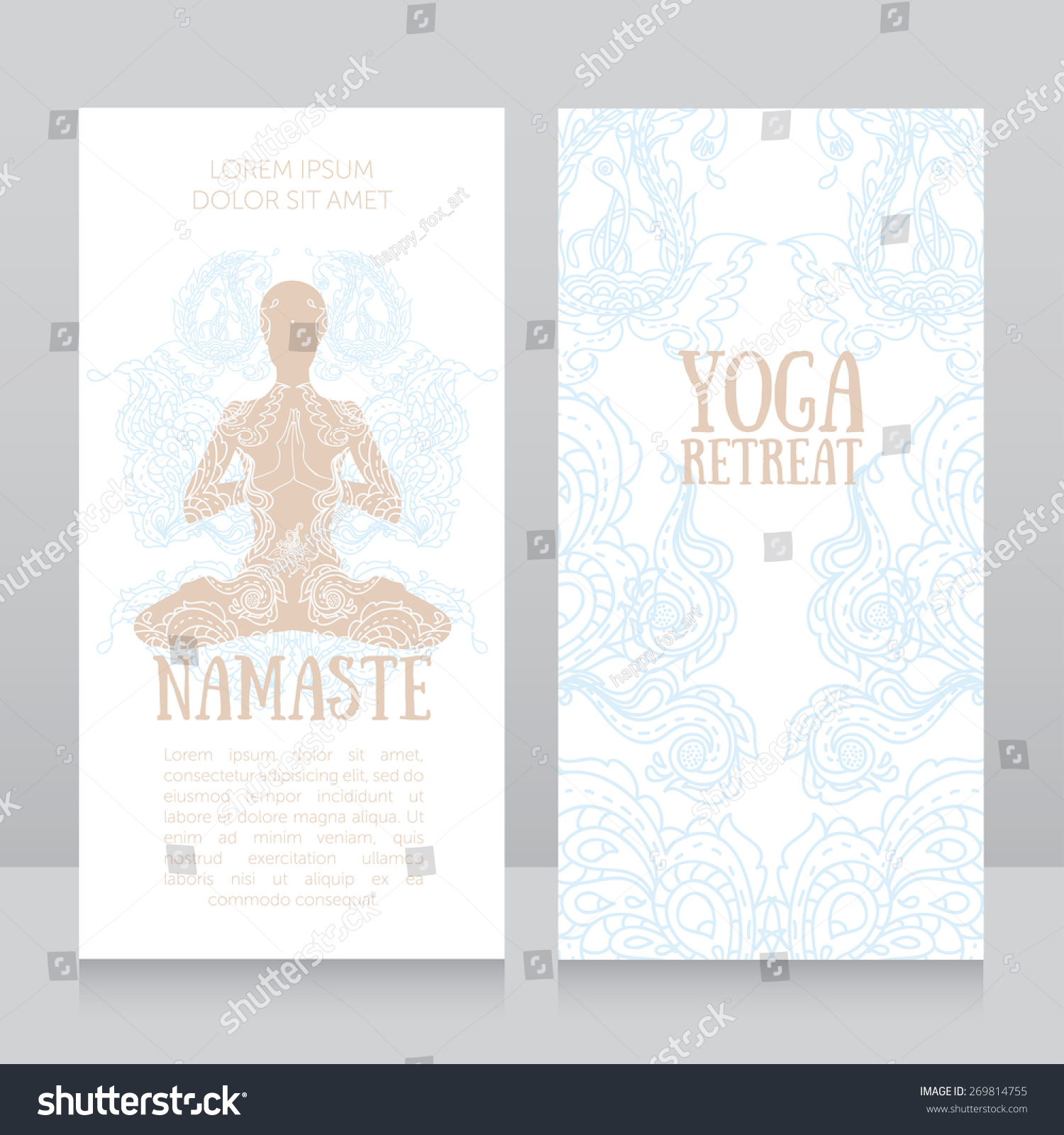 Business Cards Template Yoga Retreat Yoga Stock Vector 269814755 ...