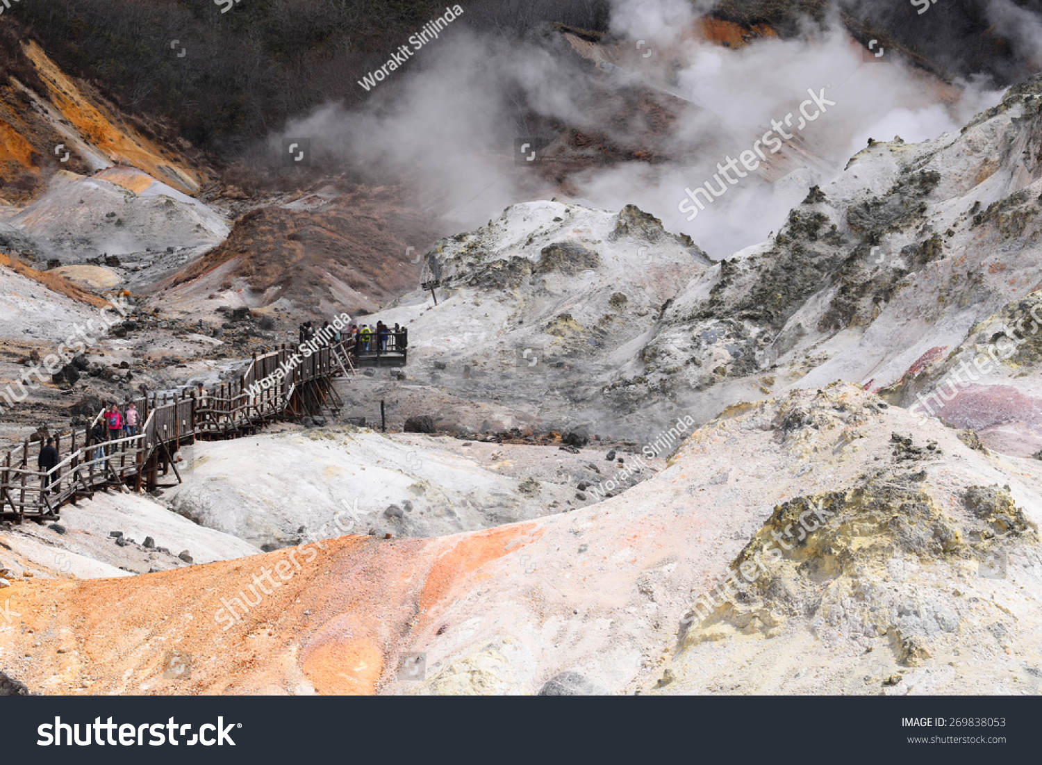 Noboribetsu Japan  City new picture : Jigokudani Hell Valley In Noboribetsu Hokkaido Japan Stock Photo