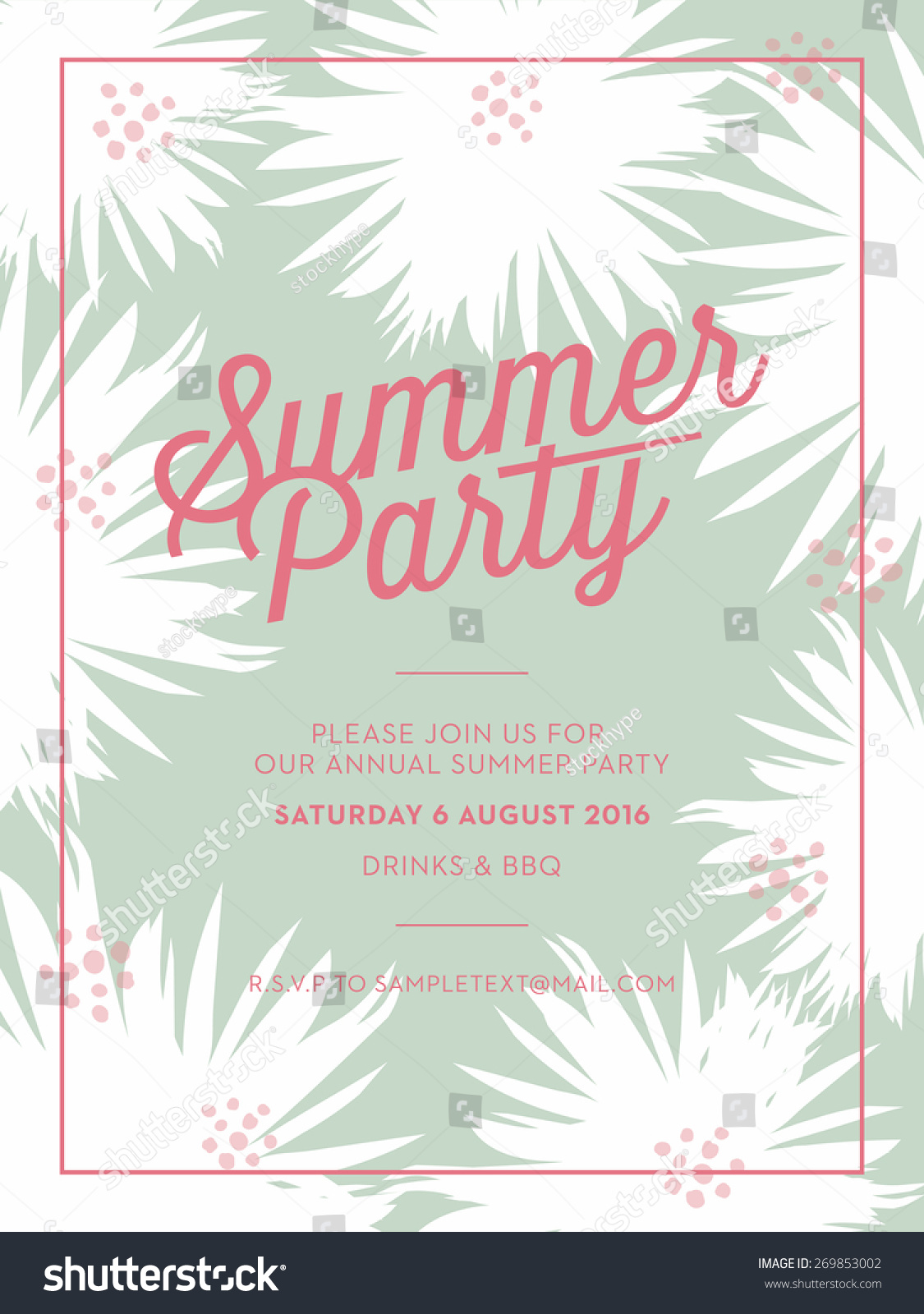 Summer Party Invitation Card Leaves Elements Stock Vector ...