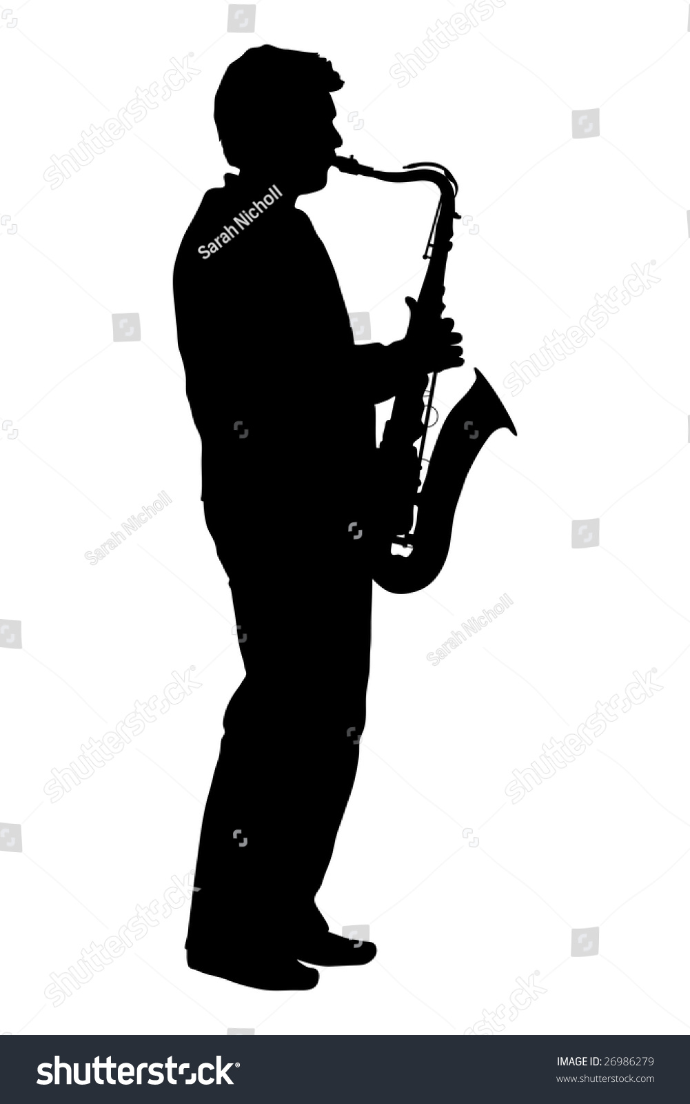 Silhouette Man Playing Saxophone Stock Illustration ...