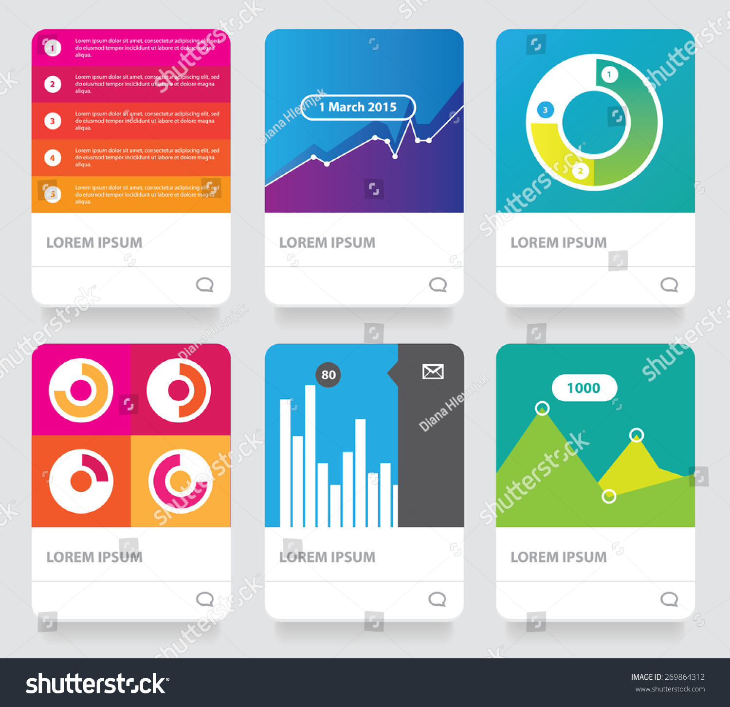vector diagram infographics set cards collection stock vector vector diagram infographics set cards collection six colorful bright contemporary graphs growth analytics