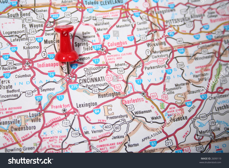 Us Map Cincinnati.City Cincinnati Ohio United States Pinpointed Stock Photo Edit Now