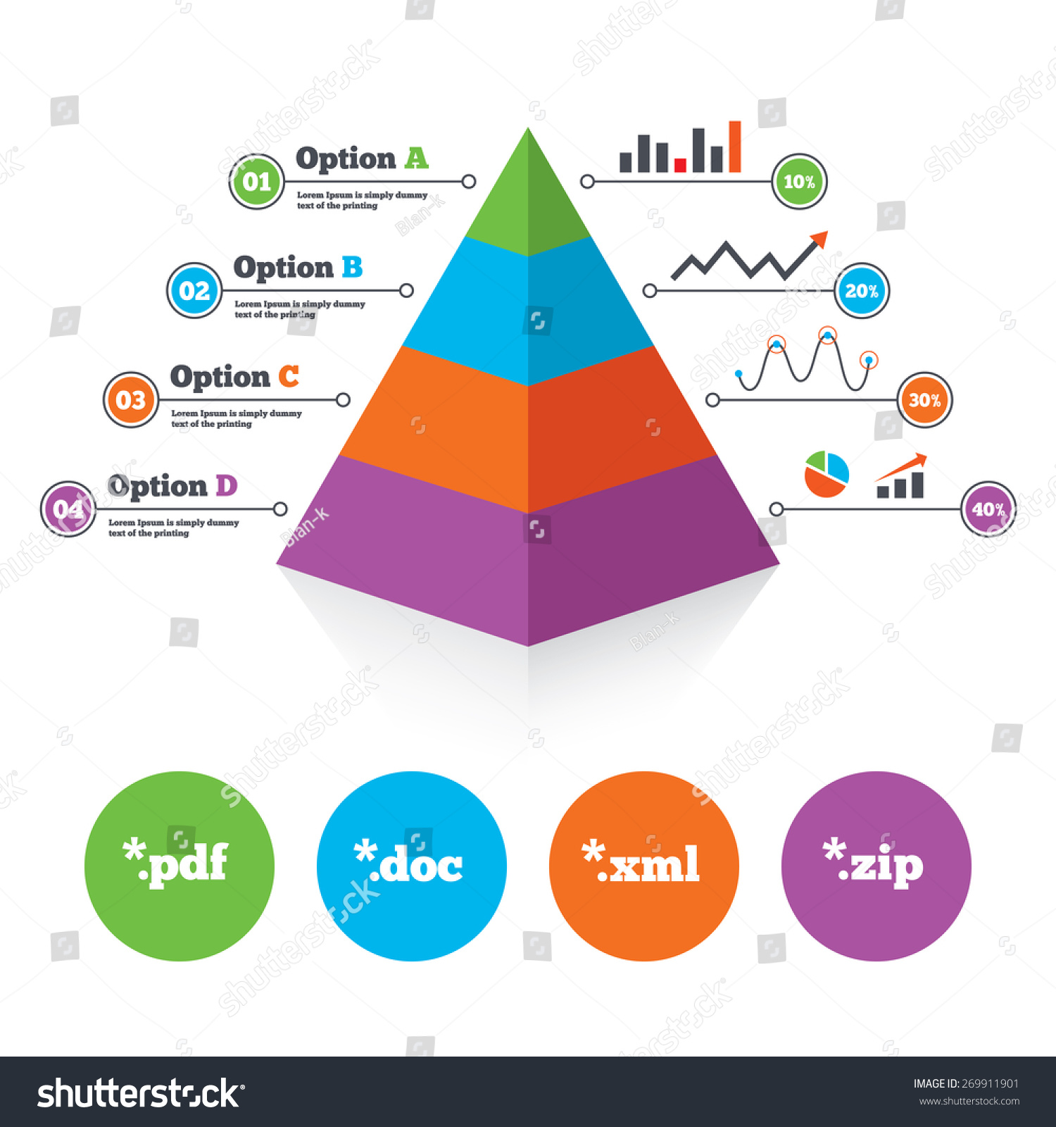 Pyramid Chart Template Document Icons File Stock Vector Royalty
