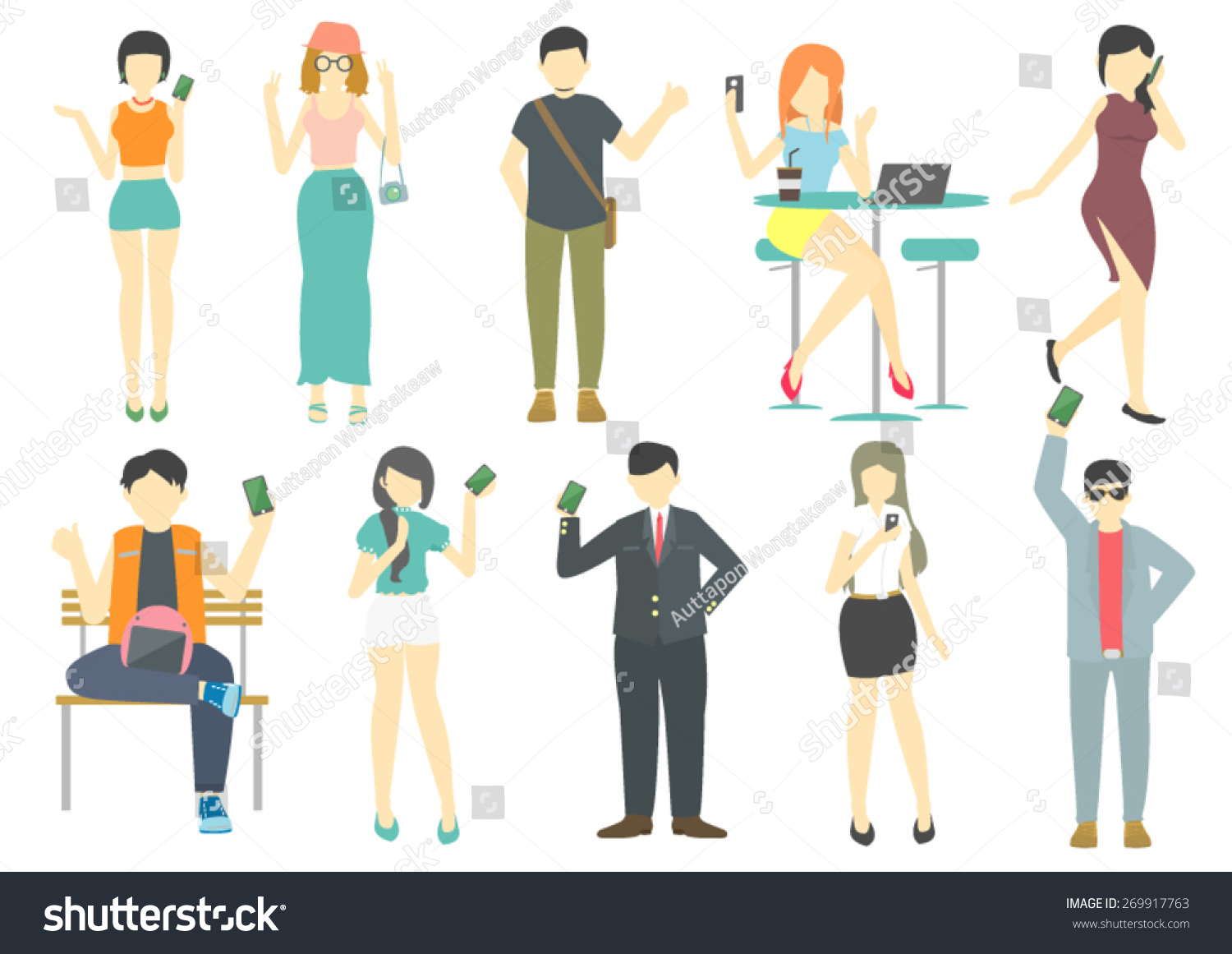 people smart phone flat design cartoon stock vector royalty free 269917763 https www shutterstock com image vector people smart phone flat design cartoon 269917763